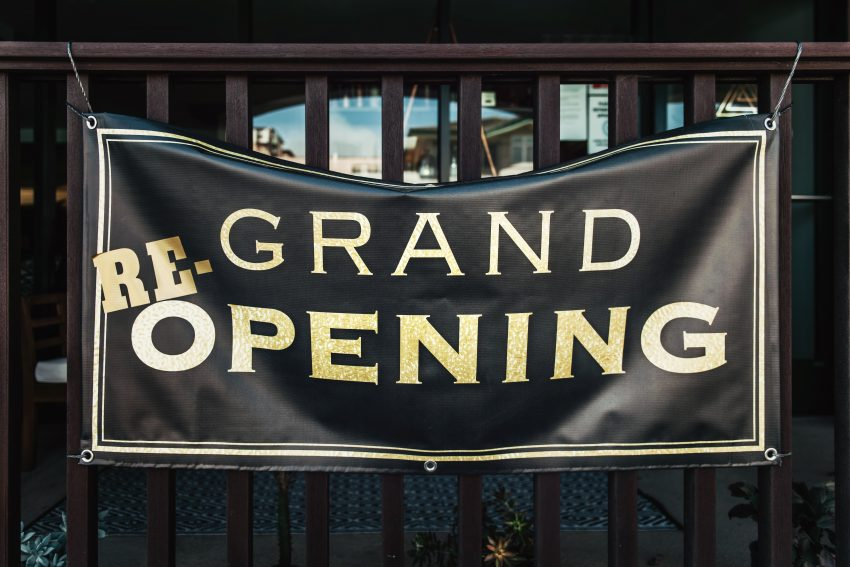 Grand re-opening sign